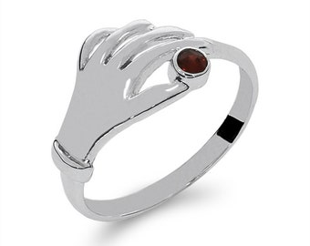 14k solid white gold hand ring with garnet stone. fancy ring with stone.