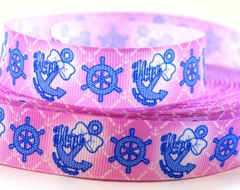 Hope Anchor Printed Grosgrain Ribbon - 7/8""