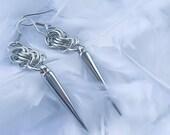 Chainmail earrings - Spike Minimalist earrings - Chainmaille earrings - Steampunk spike earrings - Gothic Spike Earrings - Medieval earrings