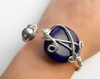 CLEARANCE - Gift for her - Silver wrapped stone bracelet - Blue stone cuff, Boho - Beaded bracelet - Adjustable cuff - Bohemian bracelet