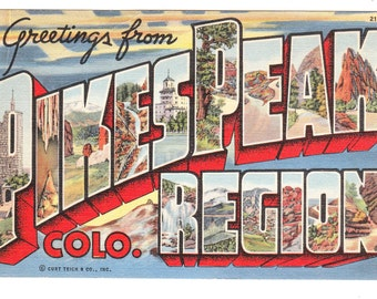 Pikes Peak Colorado Vintage Big Letter Postcard (unused)