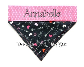 """Personalized Dog Bandana/ Over the Collar Dog Bandana/ Valentine Dog Bandana/ Pink Dog Bandana/ """"Hearts and Arrows"""""""