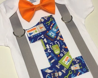 Little boy's robot first birthday onesie with bow tie and suspenders