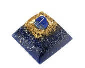 LAPIS LAZULI Orgone Pyramid - 24k Gold with Ormus - Energy Healing and Feng Shui Orgone Device