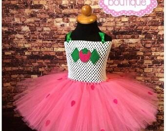 Presidents Day sale Strawberry Shortcake Inspired Tutu Dress. Party Dress. Halloween Costume. Strawberry tutu.