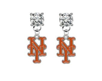 New York Mets Crystal Post Stud Dangle Earrings (Pick Your Colors - Mix or Match Team Colors) Baseball