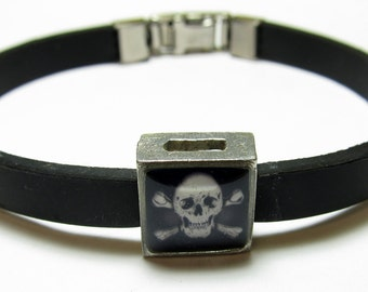 Skull And Crossbones Link With Choice Of Colored Band Charm Bracelet