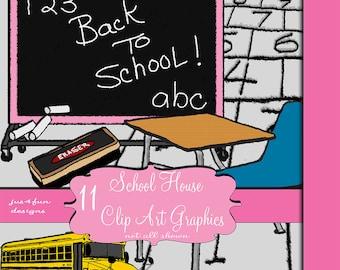 School Supplies Scrapbook Digital Embellishments Elements Clip Art Graphics Set