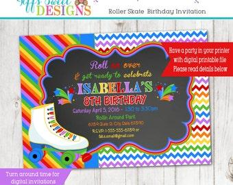 Rainbow Roller Skate Party - Roller Skate Invitation - Roller Skate Invite - Custom - Printable