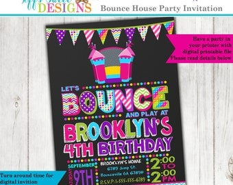 Bounce House Birthday Party - Bounce House Invitation - Jump Party - Printable