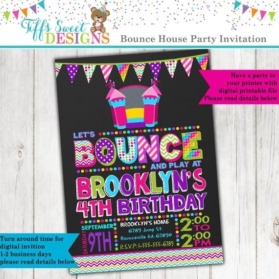 Bounce House Birthday Party Bounce House Invitation Jump