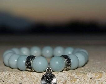 Amazonite Beaded Bracelet with Egyptian Charm|Semi precious gemstones|||African jewellery|Ethnic jewelry|pyramid|Nefertiti|Afrocentric|Kemet