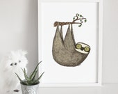 Sloth art print, animal art, cute poster, illustration, nursery wall decoration // Hypnosloth