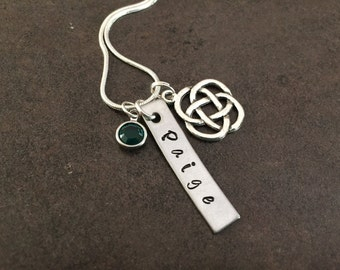 Celtic Necklace, Irish, Gaelic, Celtic Trinity Knot, Charm Necklace, Initial, Personalized, Monogram, Hand Stamped, Gift for her, Stamped