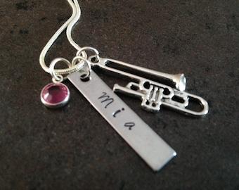 Trombone Charm Necklace, Hand Stamped Jewelry, Initial or Name Necklace, Stamped Handstamped, Birthstone Jewelry, Gift for Her, Swarovski