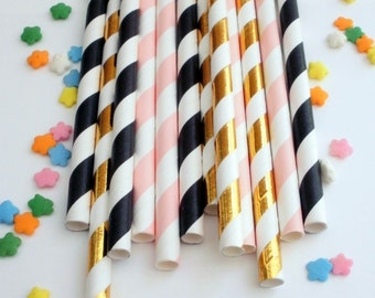50 Gold Foil, Soft Pink and Black Striped Paper Straws