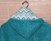 Hooded towel or hooded poncho for girls with teal chevron, toddler hooded towel, kids personalized bath towel, girl hoodie towel