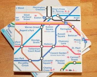 6 London Underground Tube Map Coasters,Ceramic Coasters,Secret Santa,Stocking Filler,Underground Coasters,London Map Coaster,London Coasters