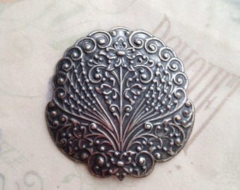 Art Nouveau Scroll ornament, pendant, brass stamping, made in the USA Silver Ox Brass Stamping