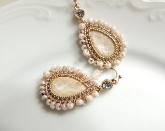 Romantic Style Earrings Dangle Earrings Decorated With Small Pearls Hanging earrings , Handmade Earrings, Bridal Jewelry, Drop earrings
