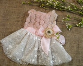 dog flower girl dress blush, rose, & white with burlap flower, rustic wedding dress dog clothes XS S M L