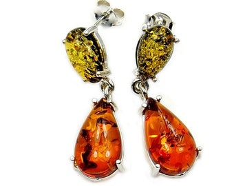 Natural Green and Honey Baltic Amber & Sterling Silver Dangle Earrings , AA197
