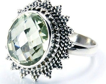 Green Amethyst & .925 Sterling Silver Ring Size 7 ,  P89