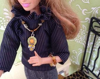 Jewelry Set for a Barbie Doll - Brown & Yellow