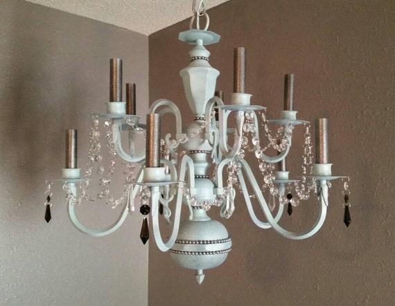 Crystal chandelier light shabby chic chandelier shabby chic - Shabby chic lighting fixtures ...