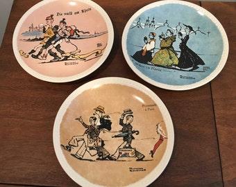 Set of 3 Vintage Norman Rockwell Postcard  Travel Plates
