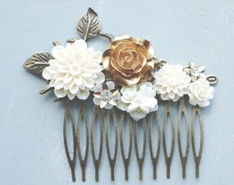 Hair Comb, Gold and ivory resin flower hair comb.