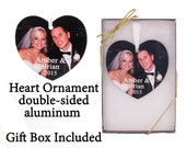 Custom Photo Ornament - Heart Ornament - your photo turned into a unique gift - First Christmas Together - 2 sided