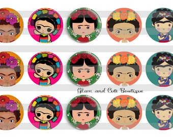"Frida INSTANT DOWNLOAD Bottle Cap Images 4x6 sheet 1"" circles"