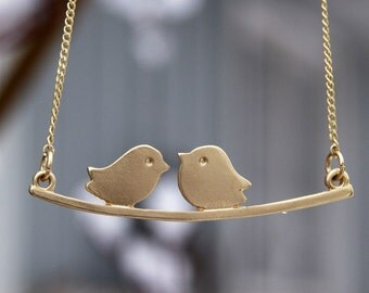 Gold Love Bird Necklace Bird Charms Also In Silver And Rose Gold , Anniversary Gift Necklace