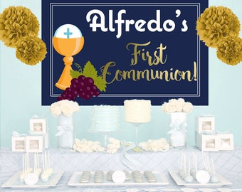 First Communion Personalized Backdrop, Holy Communion Cake Table Backdrop -Mi Primera Communion Photo Backdrop, Custom Party Backdrop