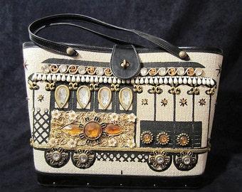 "Vintage 60's Genuine Enid Collins of Texas Original OOAK Designer Jeweled Painted ""Cable Car"" Canvas Handbag, Signed Original Retro Mad Men"