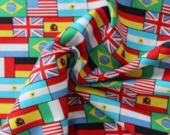 "WORLD FLAGS 100% Cotton Poplin Fabric Material Nautical 55""/140cm wide"