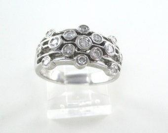 14kt white gold ring wedding band with genuine Diamonds