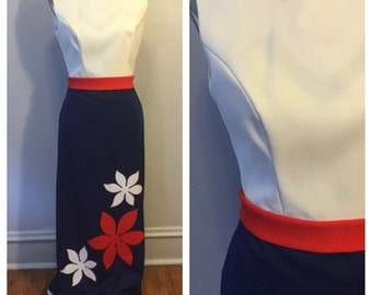 1970's red white and blue flower dress