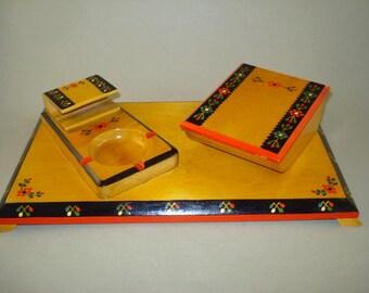 Vintage old lacquer hand painted wooden Cigarette Cigar set box, holder or desk organizer