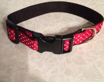 Adjustable Medium Nylon Dog Collar Red with White Dots