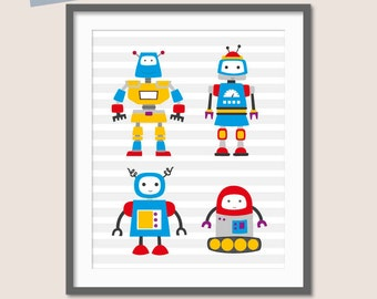 Robot Nursery, Baby Boys Nursery, Robot Art, Robot Family, Wall Art for Boys, Robot Print, Kids Room Art, Children's Wall Art