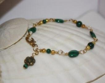 Malachite & Gold Bracelet w/Flower Charm