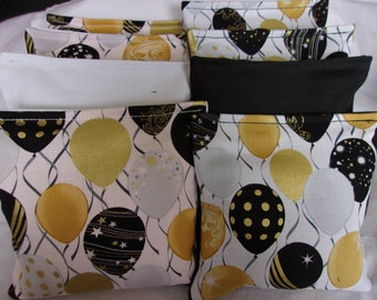 8 ACA Regulation Cornhole Bags -  Balloons on Black and White Wedding Graduation Birthday Party