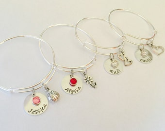Child bracelet Custom personalized name bangle with Birthstone crystal on a Silver adjustable Bangle