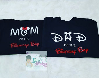 Mickey Mouse Theme Tshirts~Mom of The Birthday Boy~Dad of The Birthday Boy~Mickey Mouse~Disney World