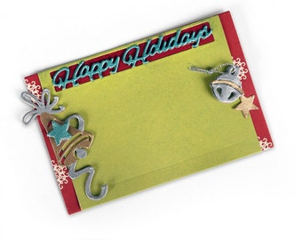 New! Sizzix Thinlits Die Set 5PK - Gift Card Holder, Happy Holidays by Lindsey Serata 661553