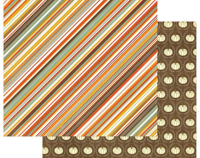 2 Sheets of Photo Play FALLING LEAVES 12x12 Scrapbook Paper - Autumn Stripe