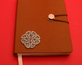 Celtic Pewter Motif on A6 Tan Journal Notebook