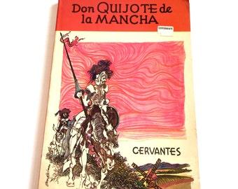 Don Quijote de la Mancha by Cervantes, Don Quixote Spanish Version, Vintage Spanish Book, Vintage Classic, 1974